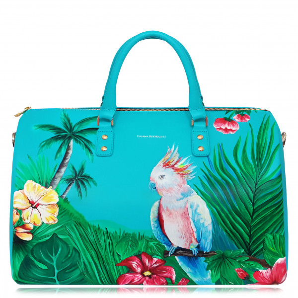 """TRAVEL BAG HAND PAINTED PARROT """"Turquoise"""""""