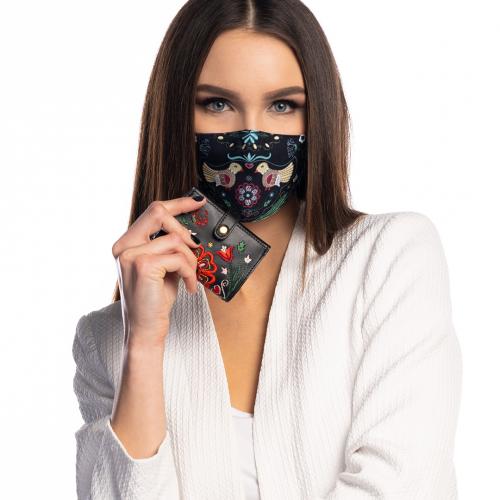 "Set Srdce Európy - Rúško a Card Holder ""čierne"""
