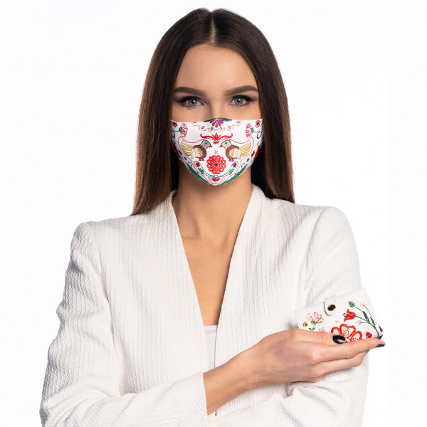 """Set Srdce Európy - Rúško a Card Holder """"biele"""""""
